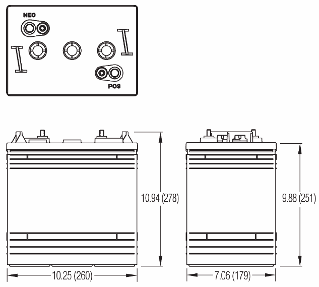 Чертеж тяговой батареи GC2E-HD, GC2-HD, GC2C-HD, GC2B-HD
