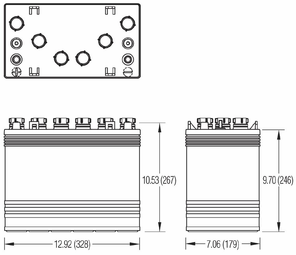 Чертеж тяговой батареи 12VGCE, 12VGC
