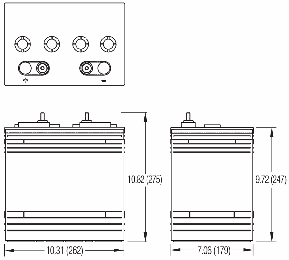 Чертеж тяговой батареи 8VGCE, 8VGC, 8VGH