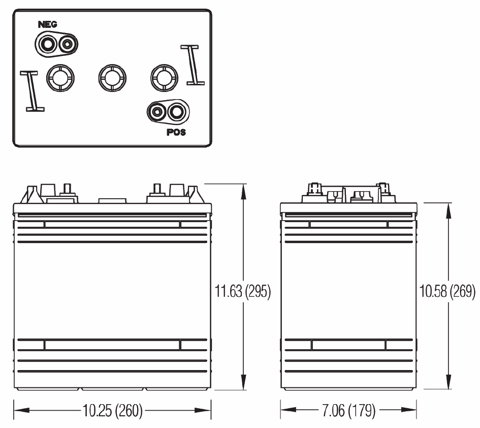 Чертеж тяговой батареи GC2H-HD