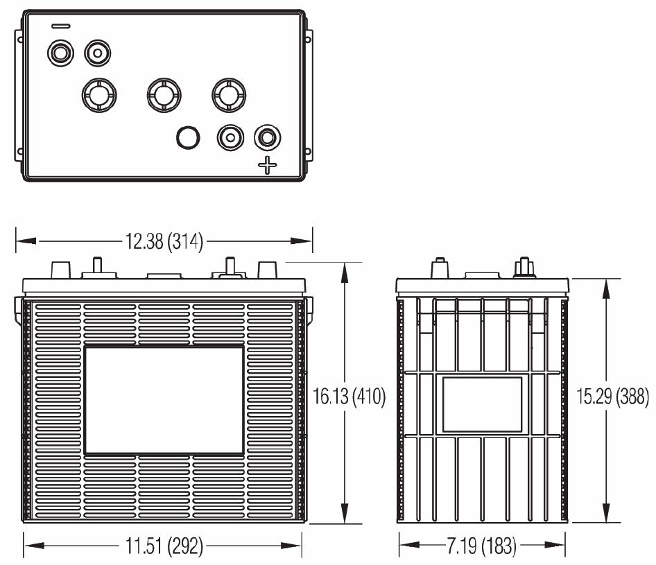Чертеж тяговой батареи Dyno L16-HD, L16H-HD, L16HH-HD