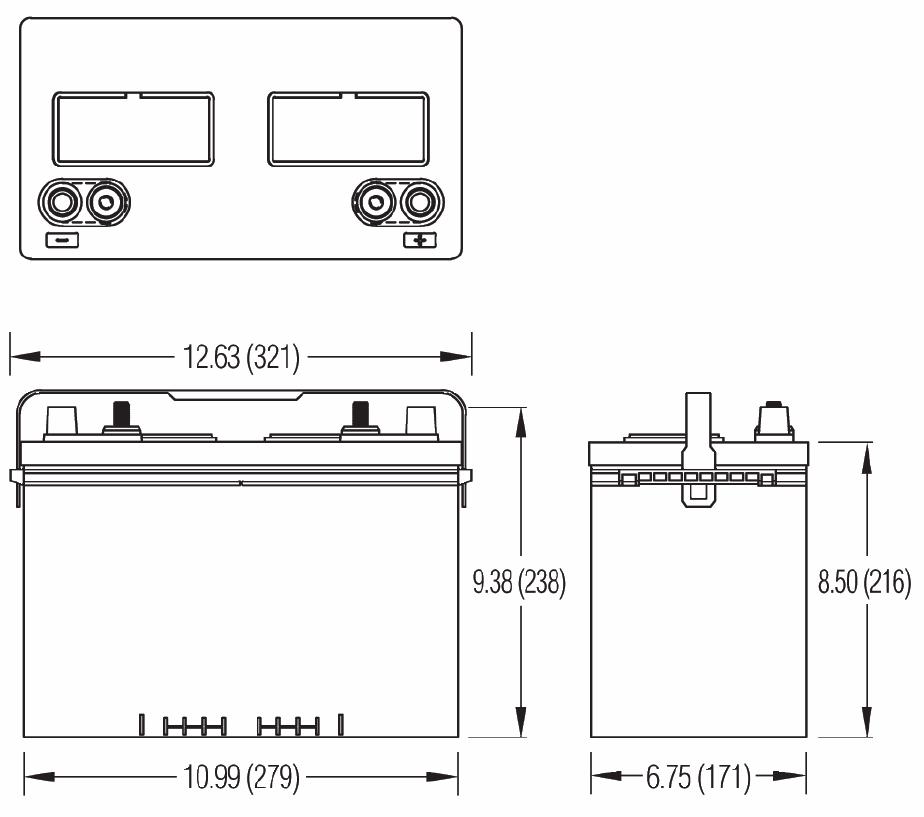 Чертеж тяговой батареи M27D, M27DH