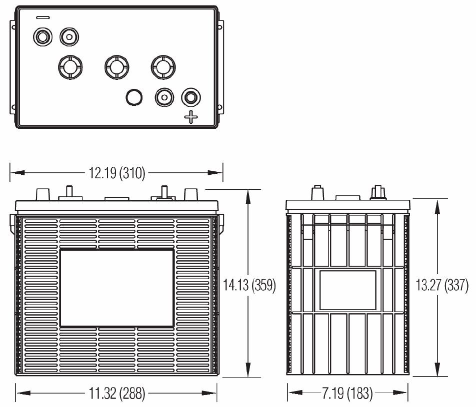 Чертеж батареи Dyno S4-HD, S4H-HD