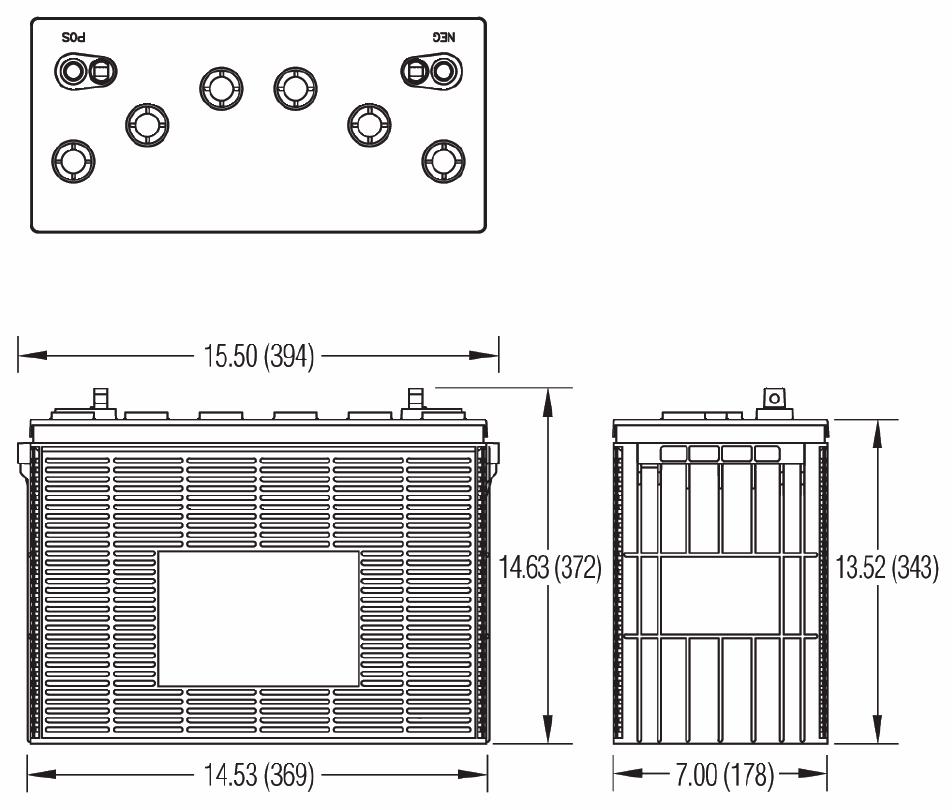 Чертеж тяговой батареи SSW-HD, SSWM-HD, SSWH-HD